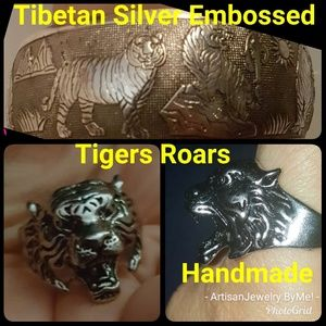 TigersCuff+RingSet Tibetan Silver+StainlesHandmade